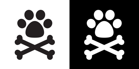 Dog paw dog bone cross bone pirate vector illustration logo icon