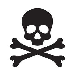Skull pirate icon logo vector bone Halloween illustration