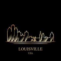 Gold silhouette of Louisville on black background