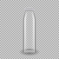 Realistic template of empty glass transparent bottles for juice.