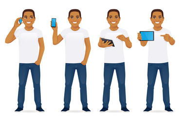Man with gadgets in different poses vector collection illustration