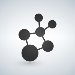 Science symbol, molecular logo. vector illustration isolated on white background.