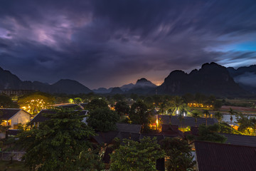 Landscape and viewpoint at night scene in Vang vieng, Laos.