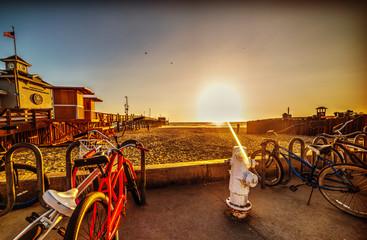 Bikes in Newport Beach at sunset