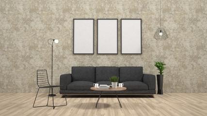 mock up poster frame in interior background,3D render