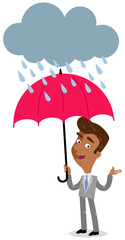 Vector illustration of an asian cartoon businessman standing under an umbrella in the rain isolated on white background