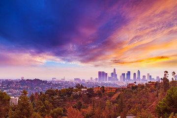 Spoed Fotobehang Los Angeles Pink sunset over Los Angeles