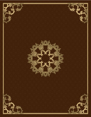 Vintage gold background, vector square ornamental frame with place for text. Can be used for documents, book cover, album, menu, poster, certificate.