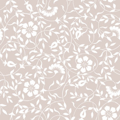 Seamless abstract floral pattern. Vector pink and white background. Ornament for wrapping, wallpaper.