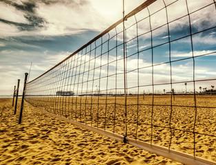 Beach volley net in Santa Barbara shore