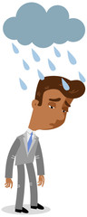 Vector illustration of a sad looking asian cartoon businessman standing in the rain under a cloud isolated on white background