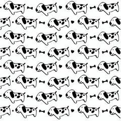 Black and white cute doggies pattern seamless