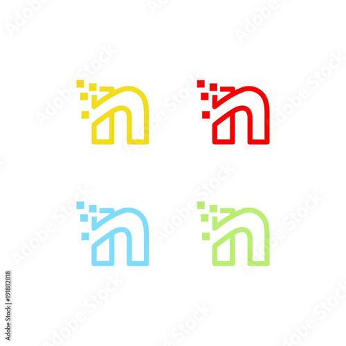 letter n logo vector abstract graphic template stock image and