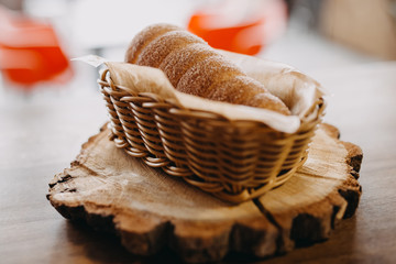 Baked trdelnik. Traditional czech food. Delicious bakery pastry food. Film look toned filter