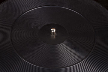 Close up shot of turntable platter