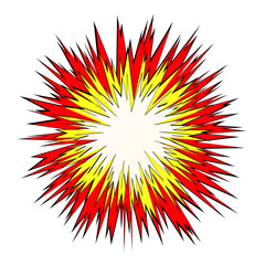Cartoon lightning explosion pop art comic style background.