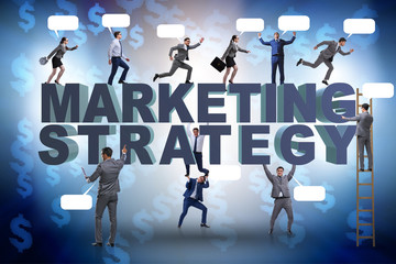 Marketing strategy concept with businessman and team
