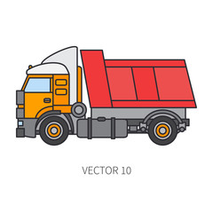 Color flat vector icon construction machinery truck tipper. Industrial style. Corporate cargo delivery. Commercial transportation. Building business. Engineering. Diesel power. Illustration for design