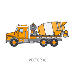 Color vector icon construction machinery truck cement mixer. Industrial style. Corporate cargo delivery. Commercial transportation. Building concrete business. Engineering. Diesel. Illustration design