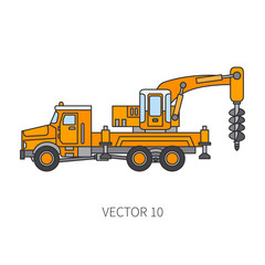 Color flat vector icon construction machinery truck boer, well. Industrial style. Corporate cargo delivery. Commercial transportation. Building. Business. Engineering. Diesel. Illustration for design.