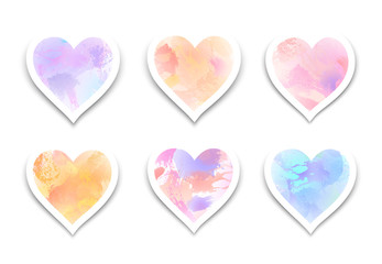 Set of  paint  hearts with splashes and drops  for Valentine's Day or weddings
