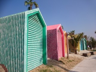 Beach huts on Jumeriah Public beach Dubai