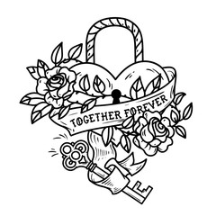 Heart shaped lock. Tattoo heart under lock and key