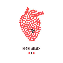 Heart attack awareness poster with heart made of red pills on white background. Medical solidarity concept. Human body organ anatomy icon.Vector illustration.