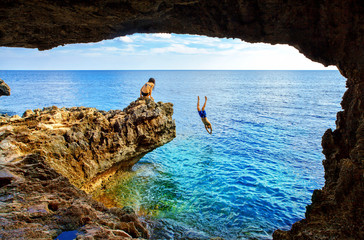 Sea cave near Cape Greko of Ayia Napa and Protaras on Cyprus island, Mediterranean Sea.