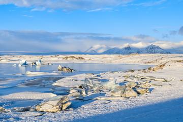 frozen landscape at vatnajokull glacier, Iceland