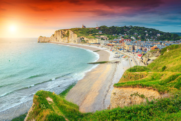 Beautiful sunrise with colorful clouds, Etretat, Normandy, France, Europe Fototapete