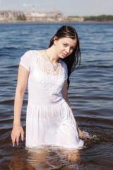 girl in white wet dress