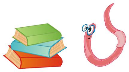 worm, earthworm, parasite, pest, illustration, pink, cartoon, books, glasses