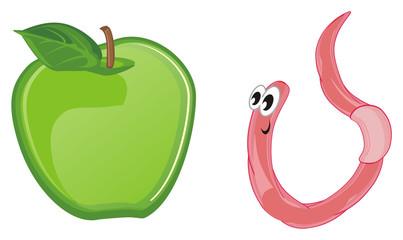 worm, earthworm, parasite, pest, illustration, pink, cartoon, apple