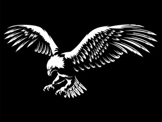 Eagle emblem white on black Wall mural