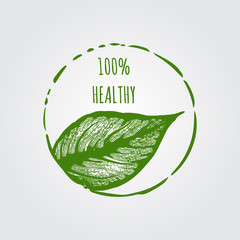 100% Healthy Label Template vector icon design