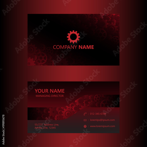 Dark Red Business Card Template Gears Background Engineer And