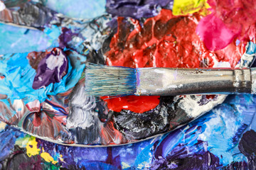 Artistic equipment.  Brushes and paints for drawing. Items for children's creativity.