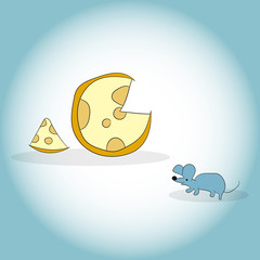 Image of mouse and cheese head. Vector illustration. Hand drawing