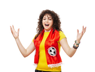 Football or soccer woman fan screaming with supporter attributes isolated on white