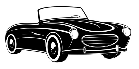 Retro car. Vintage car. Sport car