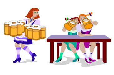 Vector illustration of women drinking beer and woman holding a lot of beer mugs. They are wearing in traditional Octoberfest costume isolated on white background.