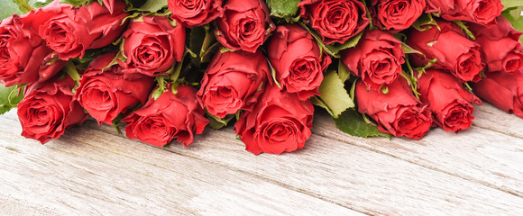 Red roses border. Valentines day concept.