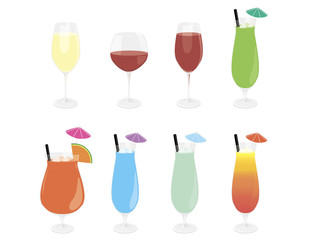 Mix of alcohol cocktail set