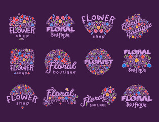 Bright badge for flower shop decorative hand drawn frame template for floral business nature banner vector illustration.