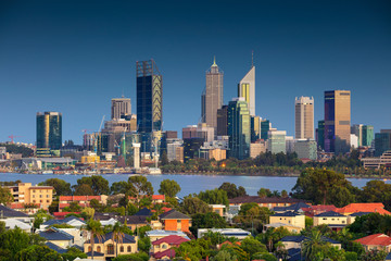 Perth. Cityscape image of Perth skyline, Australia during during sunrise taken from South Perth.