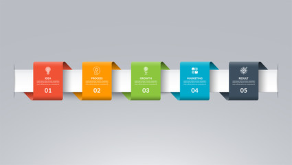 Infographic timeline template in the form of colored paper tapes. Vector banner with 5 options, steps, parts. Can be used for for web, workflow layout, time line, diagram, chart, graph
