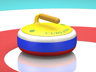 Granite tricolor stone with a handle for curling on ice (3D rendering).