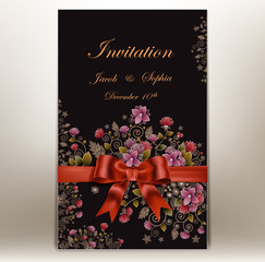 floral wedding invitation with a ribbon and bow