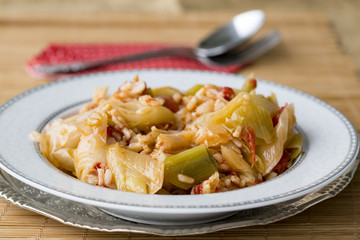 Turkish foods; leek with olive oil (zeytinyagli pirasa)